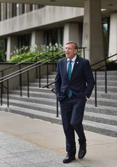 New Michigan State University President Samuel Stanley leaves the Hannah Administration Building Wednesday, Aug. 14, 2019, for a meeting.