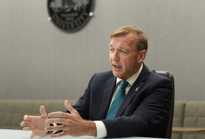 President Samuel Stanley speaks during an interview with the Lansing State Journal Wednesday, Aug. 14, 2019, at the Hannah Administration Building.