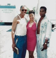 "Dexter Hammett, right, poses with his wife Raquel Eatmon and ""Shawshank"" star Morgan Freeman. Hammett served as a stand-in for Freeman during filming."