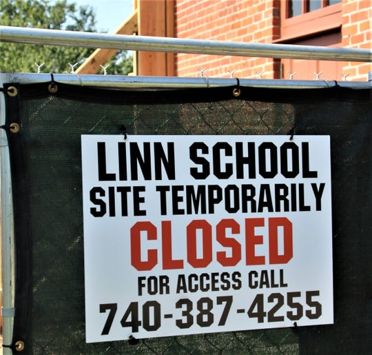 This sign tells the story that historic Linn School will be closed until repairs can be made to the southeast wall of the building. Officials from the Marion County Historical Society hope to reopen the building in the spring of 2020.