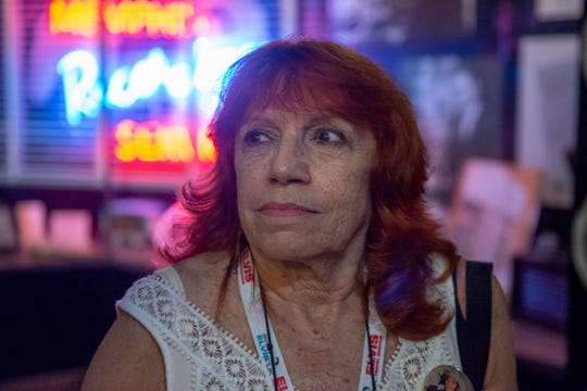 Ester Blajer, from Buenos Aries, Argentina, tours Sun Studio during Elvis Week in Memphis on Wednesday, Aug.14, 2019.