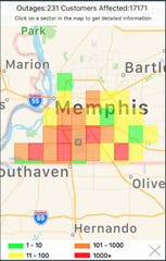 Power outage map posted by MLGW on Aug. 13, 2019.