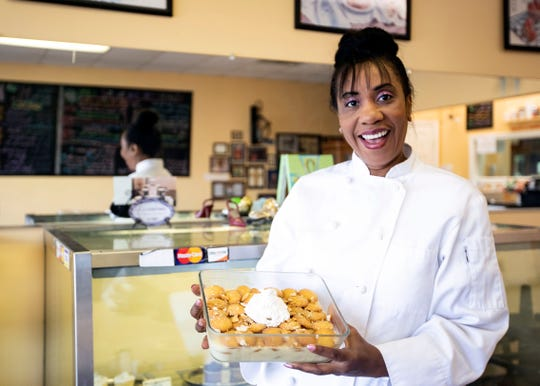 Audrey Anderson shows off her Granny's Old Fashioned Banana Pudding. Anderson's filling made into a dry mixes can be found in the produce departments of Memphis-area Kroger and Superlo grocery stores.