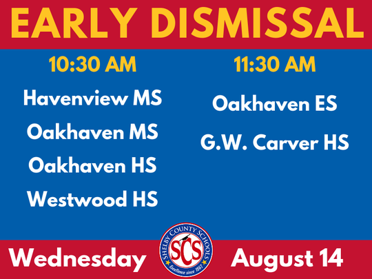 Six Shelby County schools dismiss students early