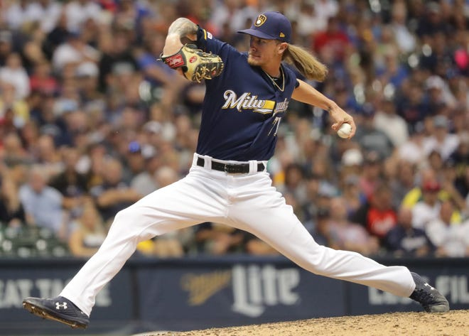 Milwaukee Brewers relief pitcher Josh Hader could not hold a 5-4 lead in the eighth inning.