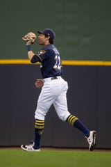 Christian Yelich will move from right field to left field this season for the Milwaukee Brewers.