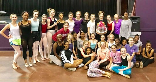 ADT student dancers with Kitty Seale during her 70th birthday.