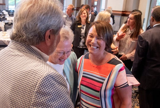 Congresswoman Martha Roby greets supporters after speaking to the Montgomery Chamber of Commerce at their regular Eggs and Issues breakfast in Montgomery, Ala., on Wednesday morning August 14, 2019.