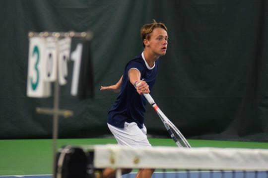 Delta tennis player Brandon Jackson competes during a 2018 match for the Eagles.