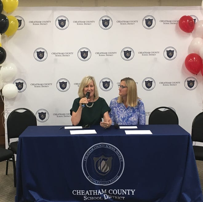 Cheatham County Schools Director Cathy Beck and Assistant Director Stacy Brinkley announce district-wide accomplishments Tuesday, Aug. 13.