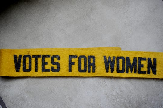 A 1910 women's suffrage sash brought in by David Ewing on April 16, 2014.