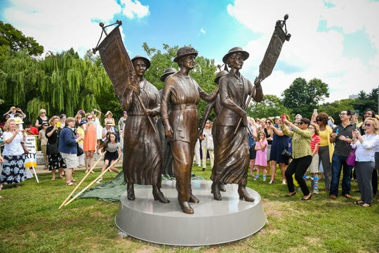 The Tennessee women's suffrage monument was unveiled at Centennial Park on Aug. 26, 2016.