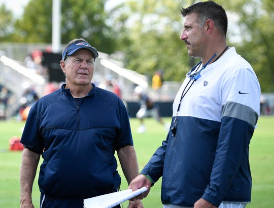 New England Patriots head coach Bill Belichick talks with Tennessee Titans head coach Mike Vrabel after a joint training camp practice at Saint Thomas Sports Park Wednesday, Aug. 14, 2019 in Nashville, Tenn.