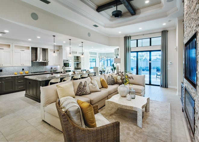 The popular, 2,285 square-foot Serino, features three bedrooms, two and one-half baths, a gourmet kitchen, and a two-car garage.