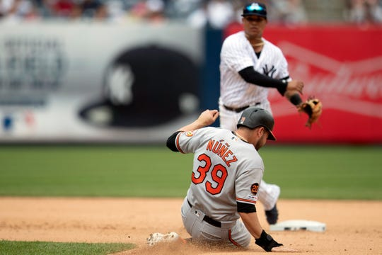 New York Yankees' Thairo Estrada forces Baltimore Orioles' Renato Nunez (39) at second during the fifth inning of a baseball game, Wednesday, Aug. 14, 2019, in New York. (AP Photo/Mary Altaffer)