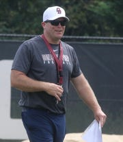 Don Bosco football's new head coach Dan Sabella watches his team perform in their scrimmage against Millville on August 14, 2019 at the Rutgers football practice field in Piscataway, NJ.