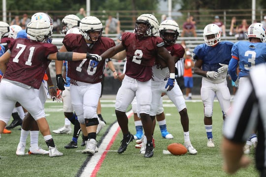 Don Bosco back Kyle Monangai after running the ball during a scrimmage against Millville on August 14, 2019 at the Rutgers football practice field in Piscataway, NJ.