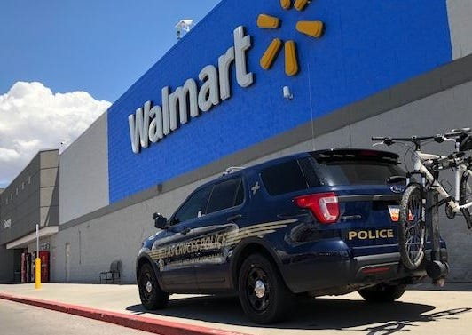 The four Walmart stores in Las Cruces will now be manned by city police officers 24 hours a day, seven days a week.