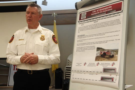 Alamogordo Fire Chief Jim LeClair presents AFD ICIP suggestions at a public hearing July 31.
