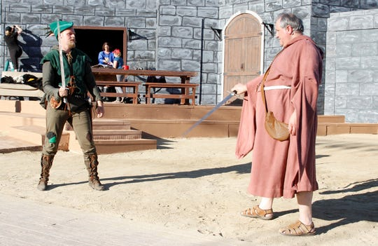 "Kevin Tschetter, left, and Menzo Faassen are featrured in a scene from the Theater Ensemble Arts production of ""Robin Hood."""