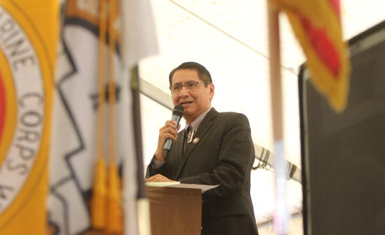 Navajo Nation President Jonathan Nez addresses the audience at the Navajo Code Talkers Day honoring ceremony on Aug. 14 in Window Rock, Arizona.