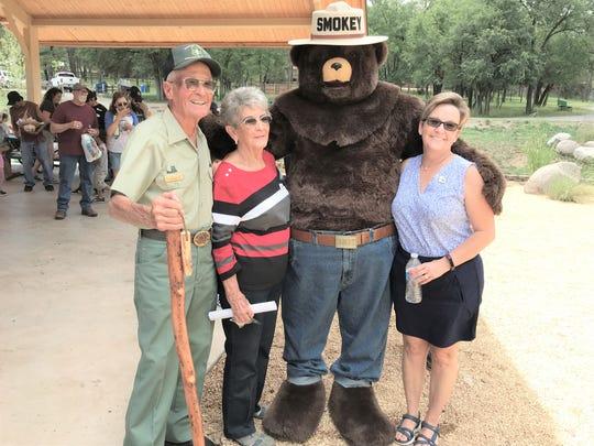 Bill Tucker, Veda Tucker and friends at the 75th Smokey Bear bash.