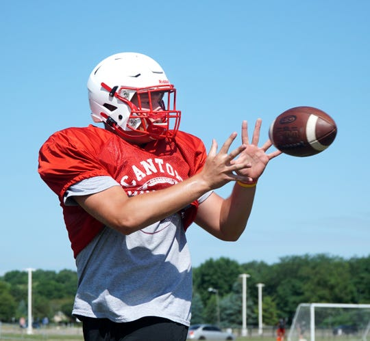 Canton tight end Jake Vickers catches a pass during an Aug. 14 practice.