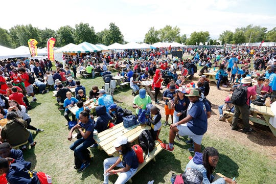 The EAA grounds in Oshkosh were crowded with people from 92 different countries Wednesday, Aug. 14, 2019, at the Pathfinders convention on the EAA grounds in Oshkosh, Wis. About 55,000 people were on hand to take part in the event, which happens every five years on the EAA grounds.