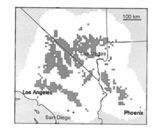 The map shows the current distribution of the Joshua tree. Predictive models with doubled carbon dioxide levels show only 24-29% of cells remain occupied.