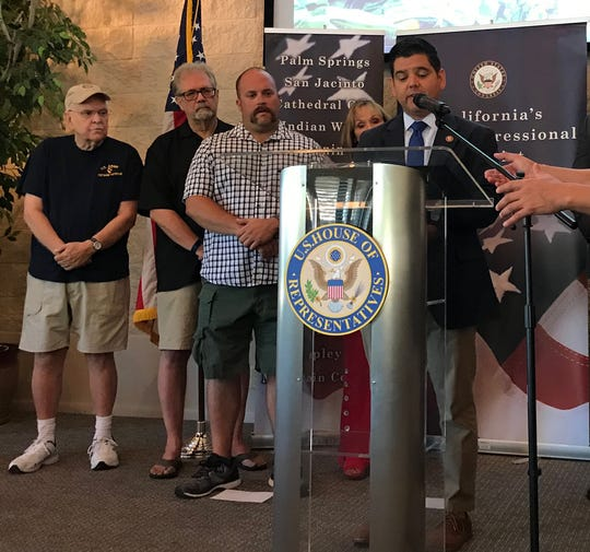 Rep. Raul Ruiz, D-Palm Desert, speaks about legislation he's introduced to reduce the cost of healthcare for veterans of Iraq and Afghanistan who were exposed to the toxic burn pits U.S. forces use to dispose of waste.