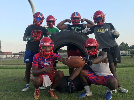 Pine Forest seniors (back, L to R) Eric Young, Von Hill, Thomarius Walker, Dacarrion McWilliams, (front) LD Clardy and Mi'Trez Rawls are aiming to take the Eagles farther than last season, which ended in the second round of the playoffs.