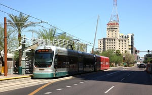 A Valley Metro light-rail train is pictured on Aug. 14, 2019, in Phoenix.