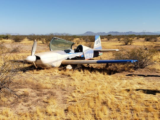 A small plane made an emergency landing near Phoenix-Mesa Gateway Airport the morning of Aug. 14, 2019.