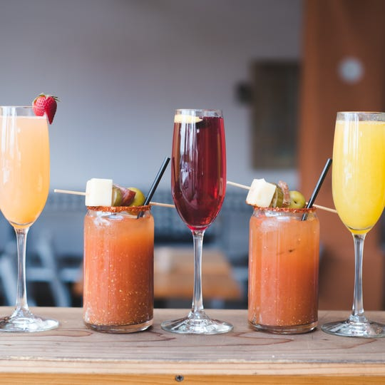 A variety of mimosas and bloody Mary cocktails from Prep and Pastry are available for brunch.