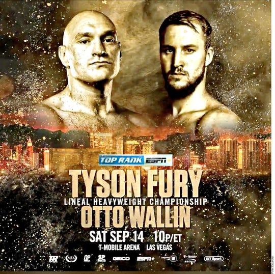 Tyson Fury enfrentará a Otto Wallin el 14 de septiembre en Las Vegas.