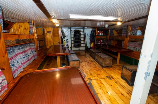 The lights in the salon below deck were recently switched to LED lights, which draw less power from the ship's generator. The available power can also be used by the ship's crew to charge their personal devices. Part of the salon was originally used as a storage area for fish.