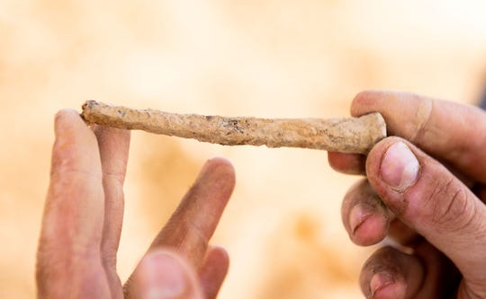 A 19th century cut nail was uncovered during the dig. It's just one of many artifacts found in just a few days of excavating at the Camp Security site.