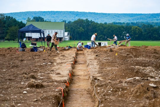 An excavation is underway by volunteers and archaeologists to find remains from Camp Security, a Revolutionary War prison camp in Springettsbury Township off Locust Grove Road.