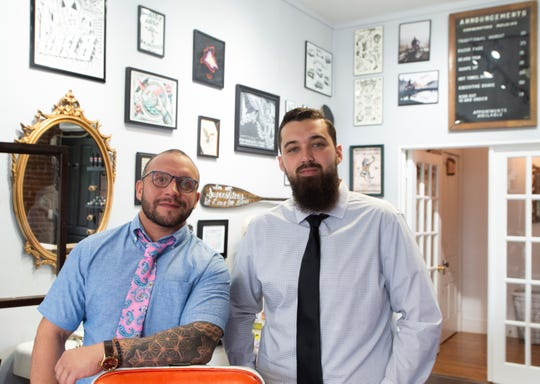 Leeanthony Ragusa (left) and Jason McGarry (right) of Cornerstone Barbershop in York on Wednesday, August 14, 2019. The barbershop is located at 101 N. Newberry St.