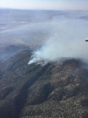 The Wood Canyon Fire burning in the Stillwater Mountains east of Fallon on Aug. 13, 2019.