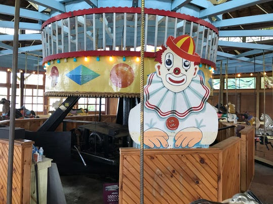 This is the creepy one-eyed clown in the carousel at Sherman's Amusement Park on West Caroga Lake where the Clevelands were married on Aug. 10.