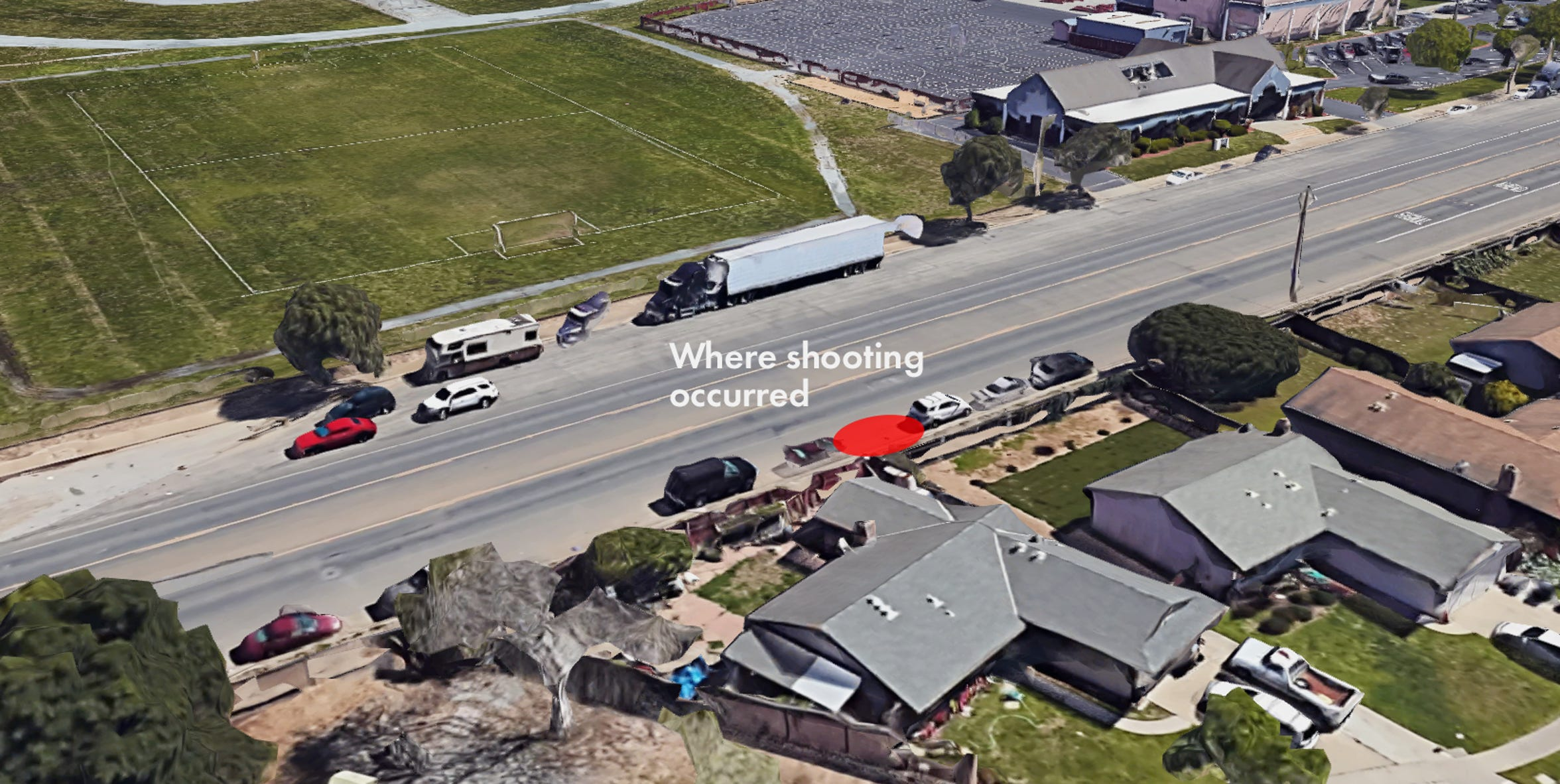 A 3-D image from Google Maps shows approximately where the shooting occurred.