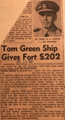 After learning about restoration efforts at Fort Concho, officers and crew members of the USS Tom Green County sent a donation to the Fort's Museum Board to help with its efforts.