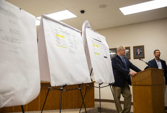 City administrator Bryan Read addresses concerns after doctored documents were shared online showing high levels of radium in the water in Brandon, SD, Wednesday, Aug. 14.