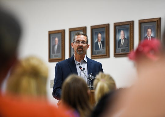 Natural resources administrator Mark Mayer addresses concerns after a group shared doctored documents online calling into question the quality of the water Brandon, SD, Wednesday, Aug. 14.