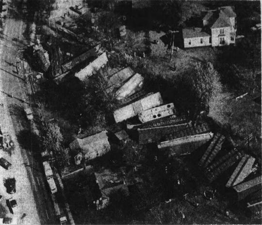 A photographer with the Springfield Daily News took this aerial photo of a train derailment in Ash Grove on Nov. 6, 1962.