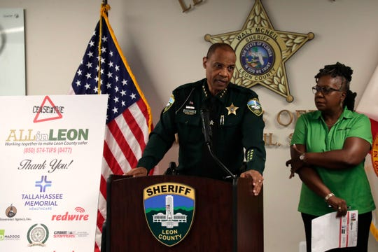Sheriff Walt McNeil hosts a press conference in regards to the Cease Fire initiative to help cut down the gun violence in Leon County Wednesday, Aug. 14, 2019.
