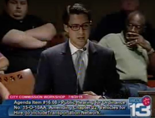 Cesar Fernandez, then a government affairs consultant and lobbyist for Uber Technologies, testifies during a City Commission public hearing in July 2015. He is described in federal court documents as a witness in the federal public corruption probe.