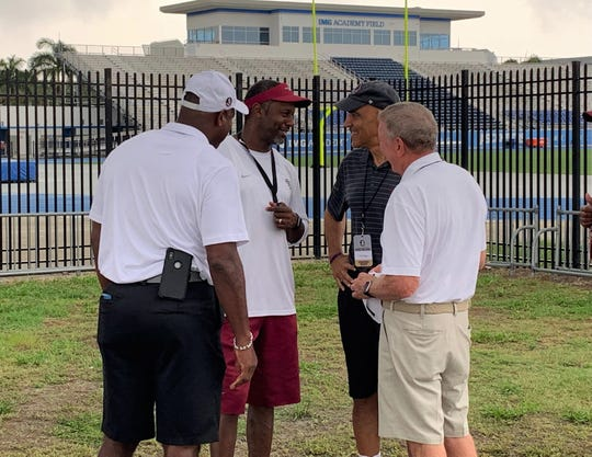 FSU coach Willie Taggart meets with NFL Hall of Famers Derrick Brooks and Tony Dungy at IMG Academy.