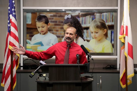 Leon County Schools Superintendent Rocky Hanna holds a press conference to update parents of the bus system issues and what is being done to resolve the problem Wednesday, Aug. 14, 2019.